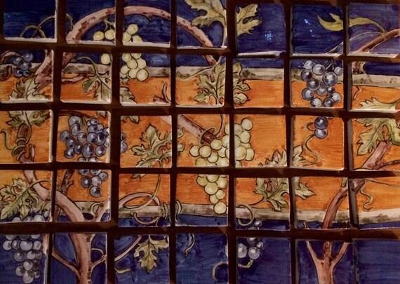 Piastrelle decorate a mano art noveau piuastrelle maioliche etsy