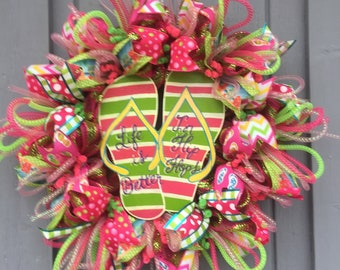 24ef7b9236148 Life is Better Flip Flop Wreath Life is Better in Flip Flop Front Door  Wreath Summer Flip Flop Wreath Summer Wreath
