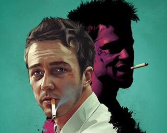 Fight Club Brad Pitt Norton Cult Film Movie Poster Print Retro Vintage A1 A2 A3 A4