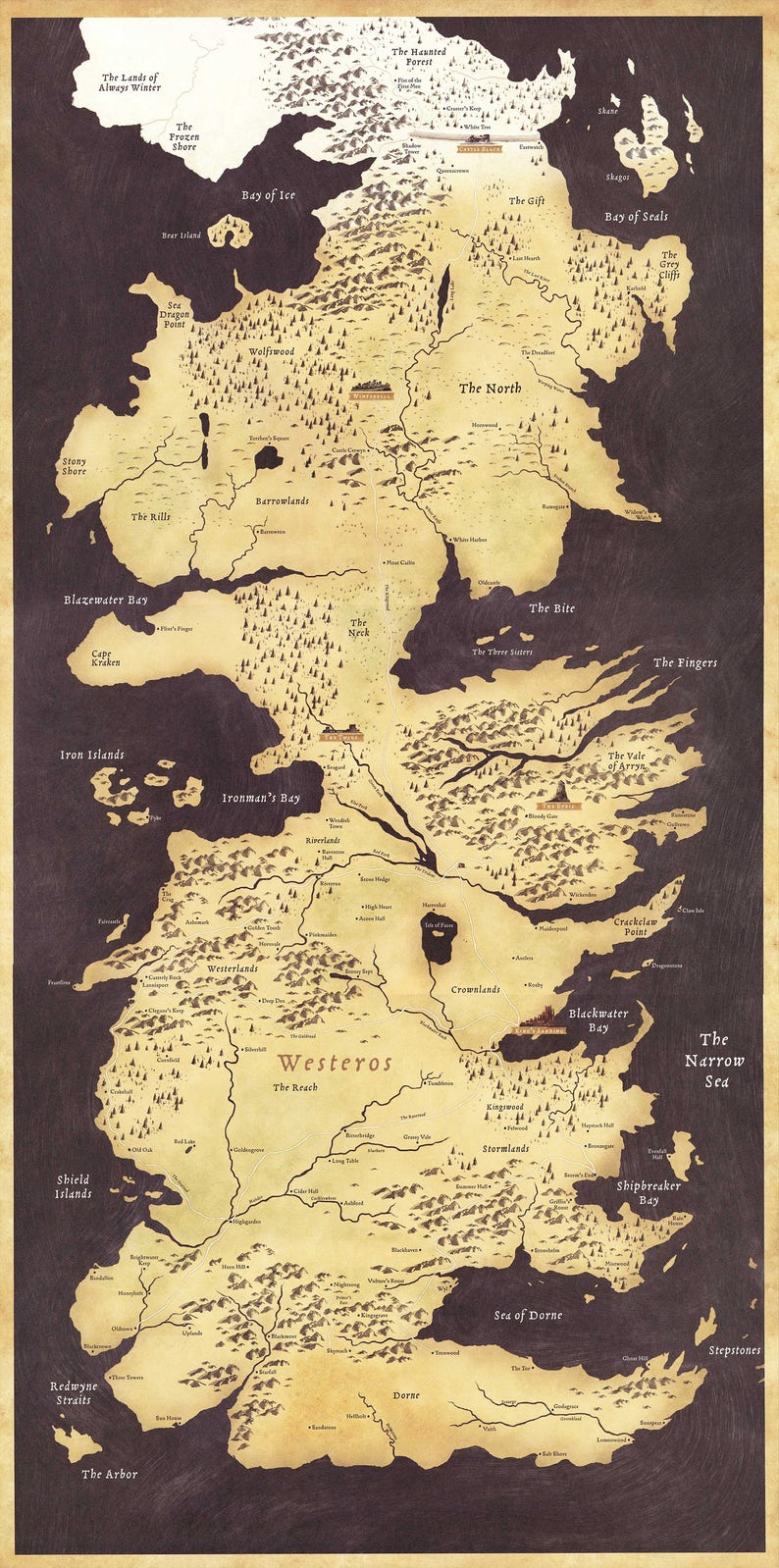 Game Of Thrones Westeros World Map Tv Art Wall Poster Print Etsy