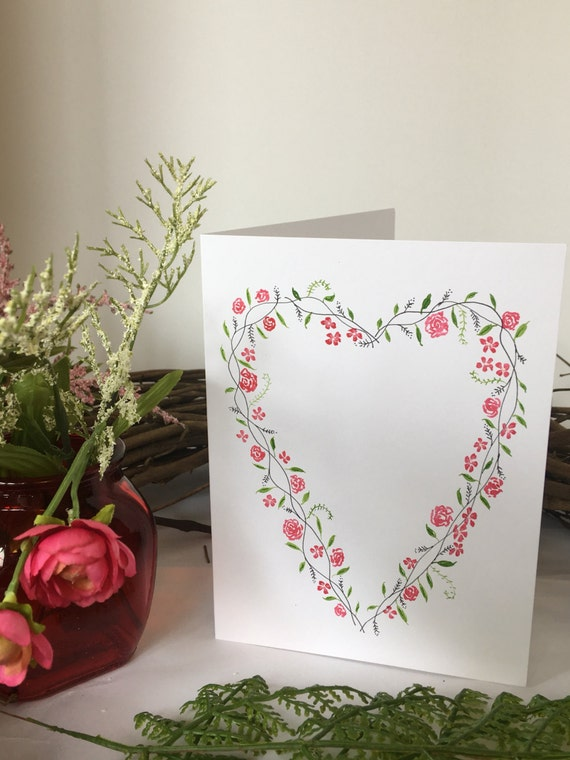Handpainted floral wreath greeting card