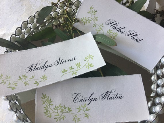 Handpainted floral custom placecards