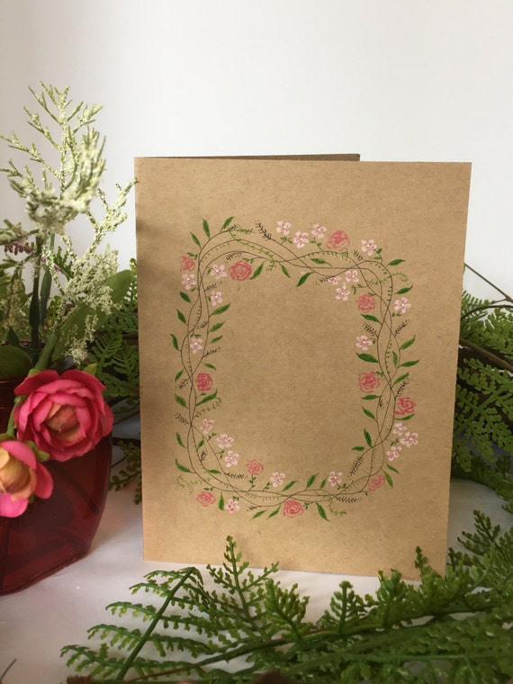 Handpainted floral vine on kraft paper
