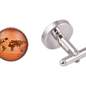 Wooden Effect World Map Cufflinks Mens Cufflinks Shop Cufflinks Cool Cufflinks Quality Cufflinks Affordable Cufflinks Popular Cufflinks