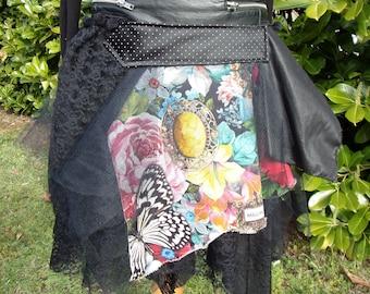 """skirt ruffles original and deconstructed """"JUNGLE ROCK"""", Bohemian underskirt."""