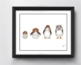 Star Wars Porgs 'From Young to Old' Art Print   A4 size   Hand Drawn Illustration
