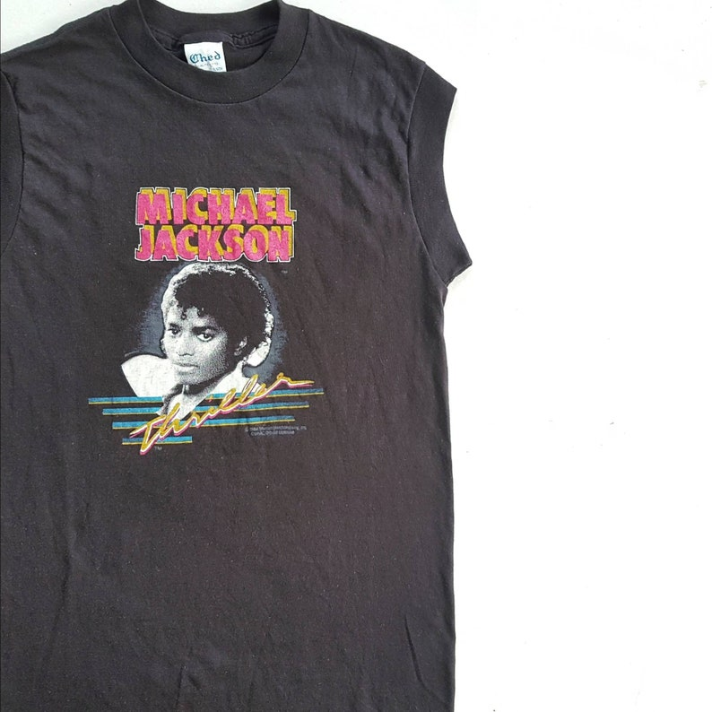 e3cde339717 Vintage 1984 Michael Jackson Thriller Muscle T Shirt size