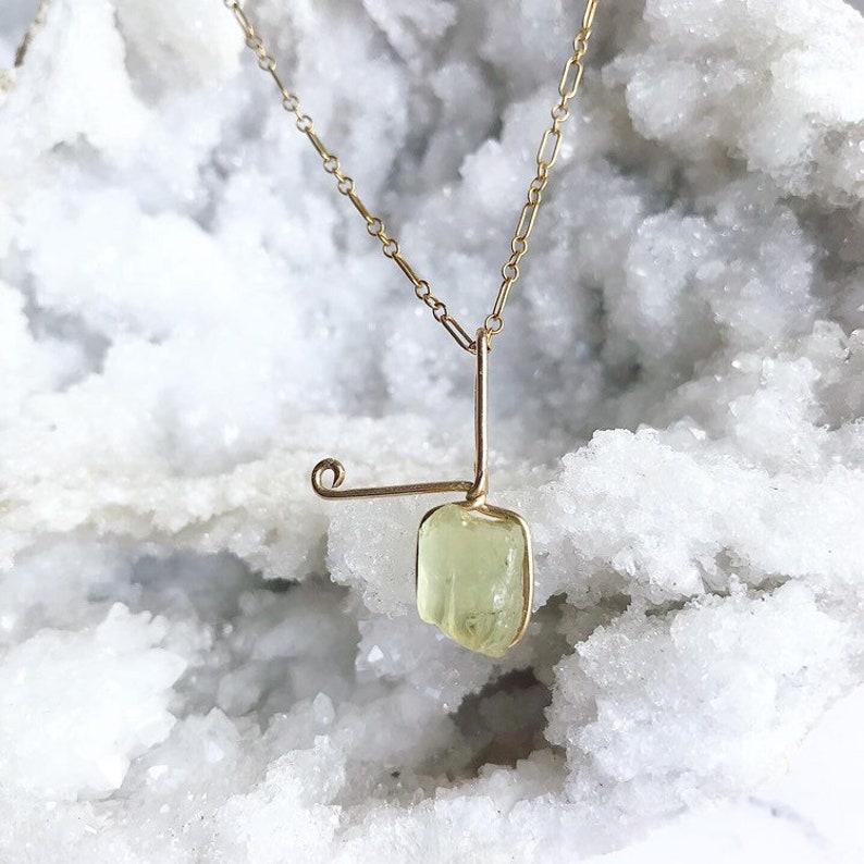 Golden Apatite in Gold Golden Apatite Pendant Raw Yellow Apatite 14 K Gold Golden Apatite Necklace Gold Gemstone Jewlery -