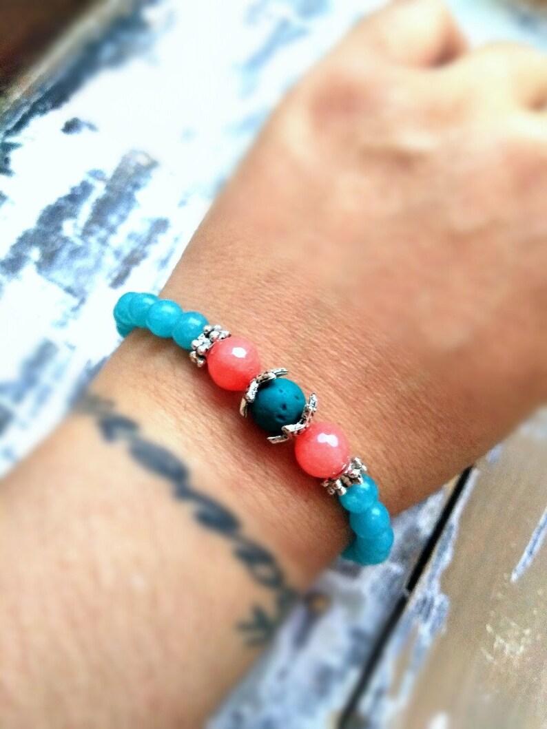 \u0392eaded energy healing bracelet Throat chakra meditation jewelry anxiety relief jewelry,serenity and self confidence bracelet Aromatherapy