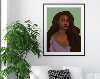 Leah African American Woman Wall Art Prints, Black Girl Posters, Extra Large Art Prints, Black Owned Shops