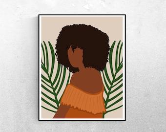 African American Woman Art, Black Women Artwork, Feminine Art Print, Tropical Minimalist Prints, Wall Art, Black Owned Shops, Gifts for Her