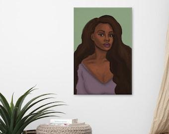 Leah Canvas Print, African American Woman Art, Large Canvas Art, Wall Art Prints, Black Girl Art, Afro Art, Black Owned Shops, Caribbean Art