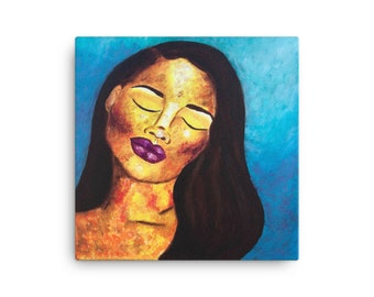 Abstract Portrait Canvas Print, African American Art, Abstract Woman Canvas Print, Black Owned Shops, Colorful Abstract Artwork