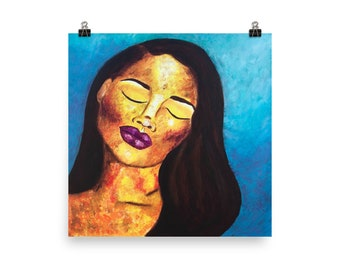 Abstract Portrait Art Prints, African American Art, Black Woman Artwork, Colorful Art, Orange and Blue Art Prints