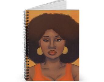Tangerine Spiral Notebook - Ruled Line, Afro woman notebook, Black Owend Shops