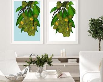 Guinep Art Prints, Jamaican Kitchen Artwork, Exotic Fruits, Spanish Lime, Chenet, Mamoncillo, Limincillo, Caribbean Art