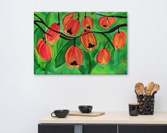 Ackee Canvas Print, Jamaican Kitchen Artwork, Exotic Fruits, Caribbean Wall Art