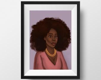 Kiara Art Prints, Afro Black Woman Poster, Wall Art Decor, Black Artists, Black Owned Shops