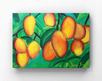 Mango Painting, Jamaican Artwork, Tropical Fruits, Caribbean Kitchen Art