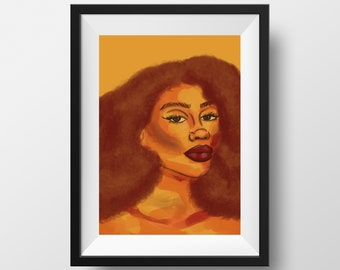 Sunshine Art Print, Abstract Art, Orange Decor, Gifts for Her, Black Owned Shops, Natural Hair Art, Extra Large Art, Woman Portrait