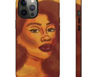 Sunshine Tough Cases, Orange Afro Woman, Curly Hair