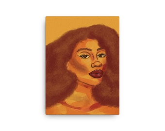 Sunshine Canvas Print, Abstract Art, Warm Orange and Yellow Art, Gifts for Her, Black Owned Shops, Natural Hair Art, Extra Large Art