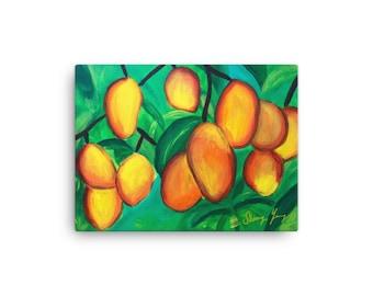 Mango Canvas Print, Jamaican Kitchen Artwork, Exotic Fruits, Caribbean Art, Tropical Canvas Wall Art