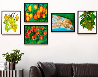 Tropical Prints Bundle, Set of 5 Prints, Caribbean Art Print Gift Set, Gifts for Her, Housewarming gift, Jamaica Art