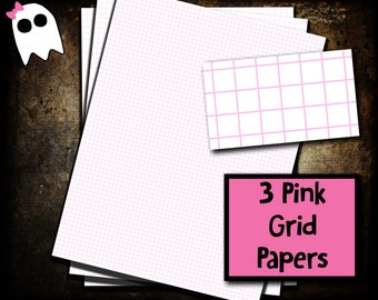 PPS-20f /// Pink Graph Paper - Pink Grid Paper - Graph Paper - Grid Paper - Printable - Printable Paper - Digital Paper - Planner Paper -