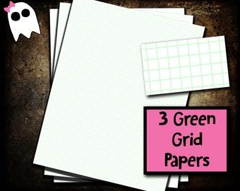 PPS-20c /// Grid Paper - Graph Paper - Printable Grid Paper - Printable Graph Paper - Green - Green Grid - Green Graph - Planner Paper
