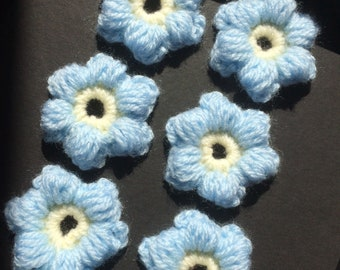 6 x hand crocheted blue flower appliques