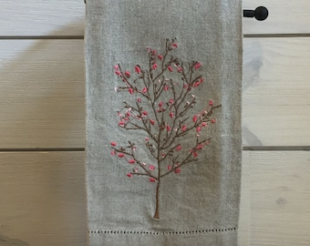 Linen Tea Towel - Spring Tree Towel - Embroidered Linen Hand Towel - Linen Hemstitched Hand Towel - Guest Bathroom Decor