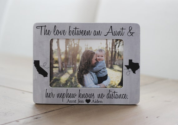 Long Distance Aunt Nephew Niece States Frame Personalized GIFT