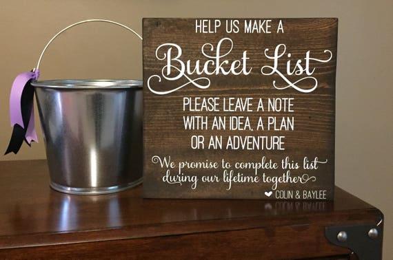wedding bucket list sign wedding decor wedding activity. Black Bedroom Furniture Sets. Home Design Ideas