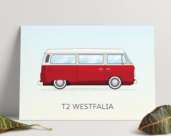 VW Campervan Print - T2 Westfalia