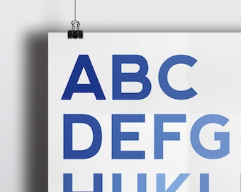 ABC Nursery Print - Blue - Bedroom - Wall Art