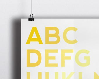 ABC Nursery Print - Yellow - Bedroom - Nursery Wall Art