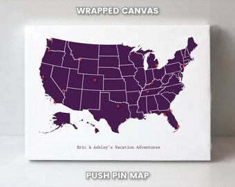 us push pin map map of the united states personalized travel etsy
