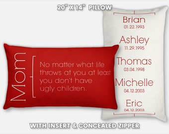Personalized Gifts For Mom Birthday From Son Pillow Gift Throw Unique Custom Home Moms Art Dcor