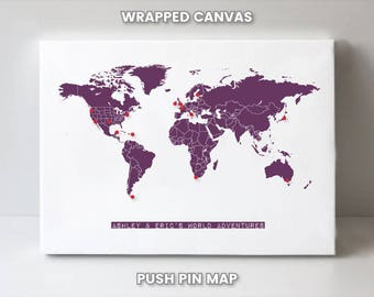World Map Push Pin Etsy - Personalized world map with pins