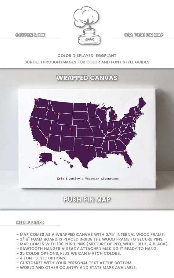us map with pins map of us poster map of the us travel map etsy