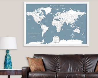 World Push Pin Map of the World Canvas Map Push Pin Travel Map Large World Map Poster Print Large Map Wall Art World Travel Map Travel Decor