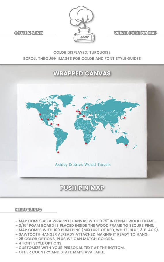 world push pin map world travel map of the world map with pins etsy