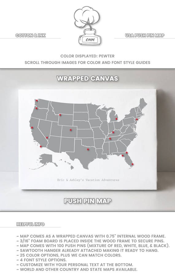 Small Map Of The United States.Small United States Map Art Us Map Wall Art Pin Board Us Map Etsy