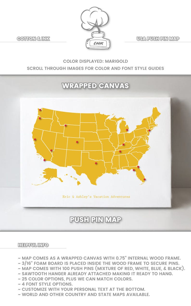 United States Map Push Pin Map of United States Push Pin Map | Etsy