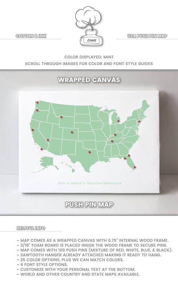 push pin map usa push pin travel map usa travel map push pin etsy