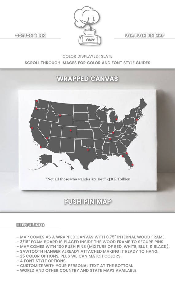 usa pin board map united states push pin map us travel map etsy