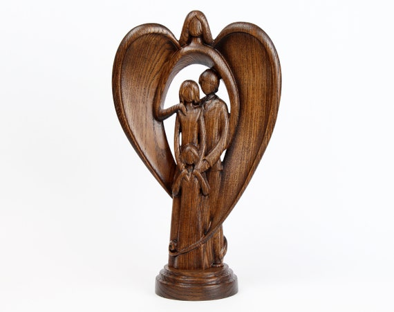 Wooden Angel Sculpture Guardian Angel Statue Hand Carved Wood Family Sculpture 3 Family Statue Meaningful Gift For Family Of 3