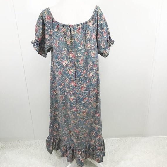 Vintage 70s Cottagecore Dress Floral Prairie Long… - image 4