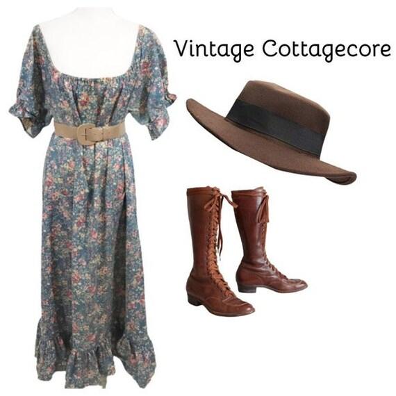 Vintage 70s Cottagecore Dress Floral Prairie Long… - image 1